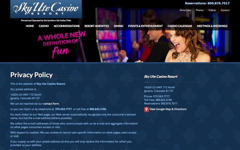 Screenshot of Privacy Page skyutecasino.com - Privacy Policy   Sky Ute Casino Resort - captured Oct. 26, 2014