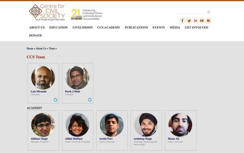 Screenshot of Team Page ccs.in - CCS Team | Centre For Civil Society - captured Sept. 22, 2018
