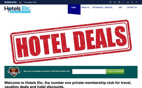 Screenshot of Home Page hotelsetc.com - Best Hotel Deals Online | Last Minutes Vacation Deals | Hotels Etc - captured July 17, 2016