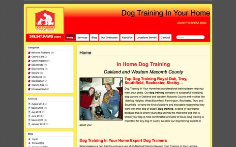 Screenshot of Home Page obedientpaws.com - Dog Training Oakland County - Dog Training In Your Home - captured Oct. 1, 2014