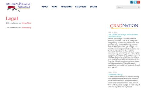 Screenshot of Terms Page americaspromise.org - Legal | America's Promise - captured Sept. 24, 2014