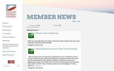 Screenshot of Press Page pleasanton.org - Member News - Pleasanton Chamber of Commerce, CA - captured Sept. 28, 2018