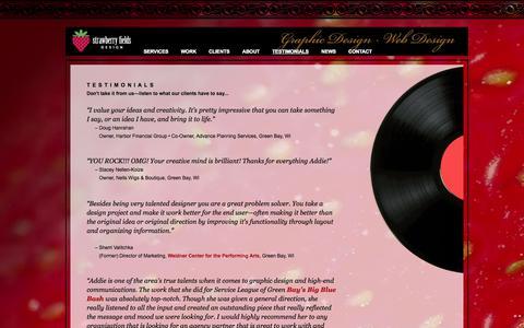 Screenshot of Testimonials Page strawberryfieldsdesign.com - Strawberry Fields Design - About Us: Strategic Graphic Design & Strategic Web Design - captured Oct. 7, 2014
