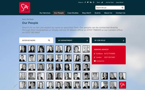 Screenshot of Team Page salaw.com - Our People - Solicitors in London & St Albans (Hertfordshire) - SA Law - captured Sept. 19, 2014