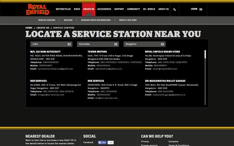 Screenshot of Services Page royalenfield.com - Locate a Service Center Near You - Royalenfield.com - captured Sept. 18, 2014