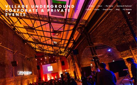 Screenshot of Home Page vuevents.co.uk - Village Underground Corporate & Private Events - captured Jan. 30, 2015