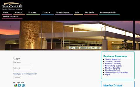 Screenshot of Login Page skokiechamber.org - Login - Skokie Chamber of Commerce - captured Oct. 18, 2018
