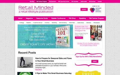 Screenshot of Home Page retailminded.com - Retail Minded - captured Sept. 19, 2014
