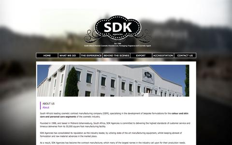 Screenshot of About Page sdkagencies.com - Cosmetic Manufacturing South Africa - SDK Agencies - OEM Own Equipment Manufacturers - captured Aug. 1, 2015