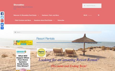 Screenshot of Home Page showables.com - Resort Rentals - captured Jan. 17, 2016