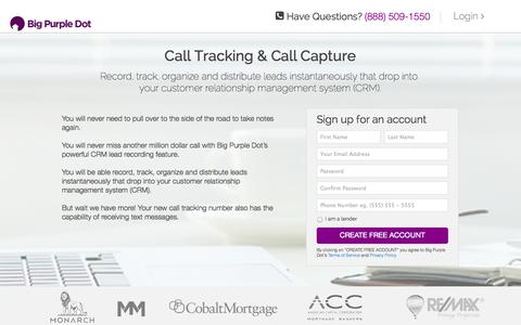 Screenshot of Landing Page bigpurpledot.com - Call Center to Track and Capture Leads - Real Estate CRM - captured Oct. 27, 2014