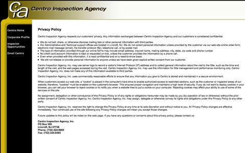 Screenshot of Privacy Page centroinspection.com - Centro Inspection Agency - captured Oct. 2, 2014
