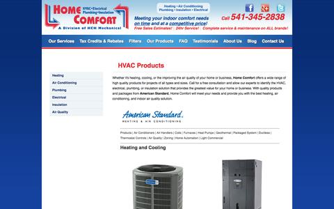 Screenshot of Products Page ehomecomfort.com - HVAC Products   Air Conditioning   Heating   HVAC   Eugene, OR 97402   Home Comfort - captured Nov. 2, 2014