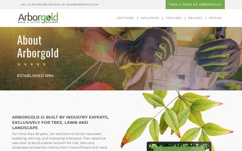 Screenshot of About Page arborgold.com - About | Arborgold Software | For Tree Care, Lawn Care and Landscape Companies - captured Sept. 23, 2018