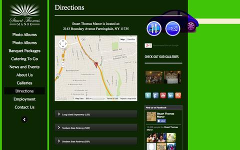Screenshot of Maps & Directions Page stuartthomasmanor.com - Directions | Stuart Thomas Manor | Long Island's Premiere Catering Company. - captured Nov. 5, 2014
