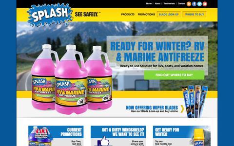 Screenshot of Home Page splashwash.com - SPLASH Products Inc. | Windshield Washer Fluid, Antifreeze, De-Icers, Wiper Blades - captured Oct. 3, 2014