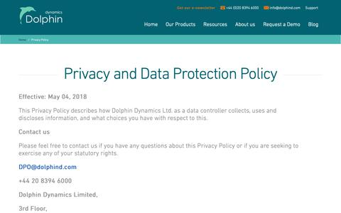 Screenshot of Privacy Page dolphind.com - Dolphin Dynamics Privacy Policy - captured Oct. 9, 2018