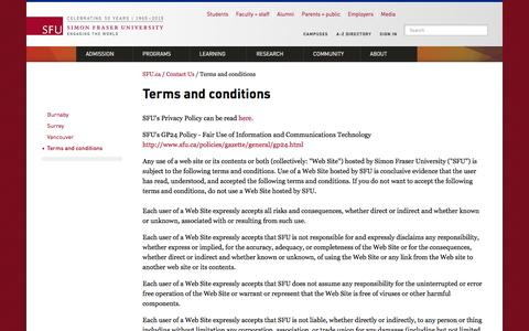 Screenshot of Terms Page sfu.ca - Terms and conditions - SFU.ca - Simon Fraser University - captured Dec. 3, 2015