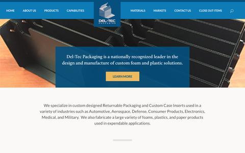 Screenshot of Home Page del-tec.com - Returnable Packaging Custom Case Inserts Die Cut Foam Plastic - captured July 14, 2017