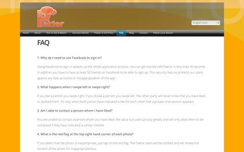 Screenshot of FAQ Page gopaktor.com - FAQ - captured Sept. 13, 2014