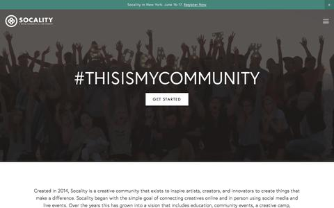 Screenshot of Home Page socality.org - Socality - captured Sept. 20, 2018