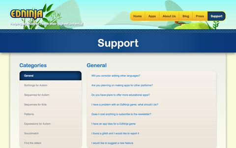 Screenshot of Support Page edninja.com - EdNinja Support - Helping all children reach their highest potential - captured Sept. 30, 2014