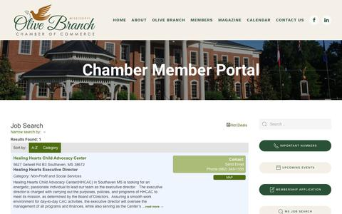 Screenshot of Jobs Page olivebranchms.com - Job Search - Chamber Page  - Olive Branch Chamber - captured Oct. 26, 2018