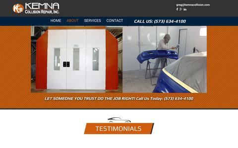 Screenshot of Testimonials Page kemnacollision.com - Kemna Collision| Testimonials - captured Oct. 17, 2017