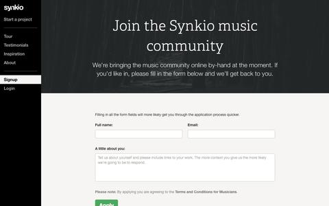 Screenshot of Signup Page synk.io - Apply for access · Synkio - captured Sept. 25, 2014