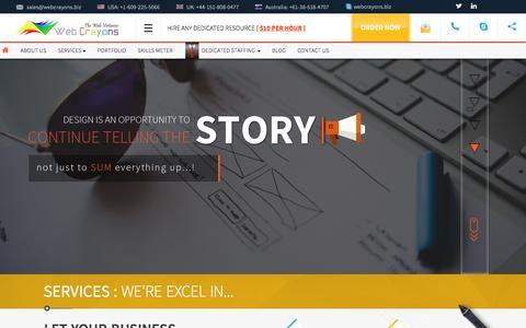 Screenshot of Home Page webcrayons.biz - Open Source Software Development & offshore website design Company | Web Crayons - captured Nov. 16, 2015