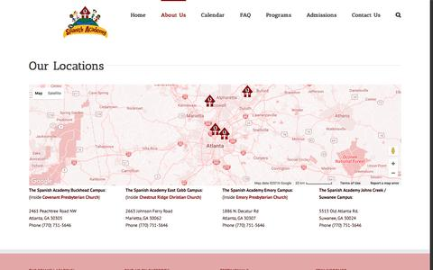 Screenshot of Locations Page thespanishacademy.com - Locations - captured Dec. 22, 2016