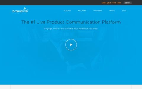 Screenshot of Home Page yourbrandlive.com - Brandlive - Live Product Communication Platform - captured July 11, 2014