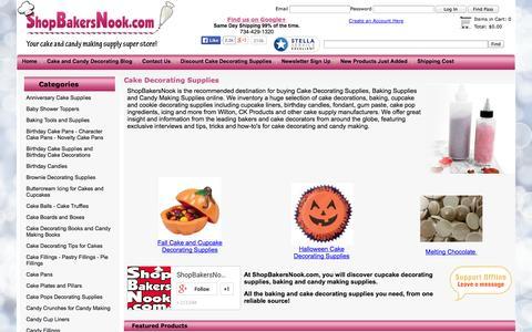 Screenshot of Home Page shopbakersnook.com - Cake Decorating Supplies - captured Sept. 19, 2014