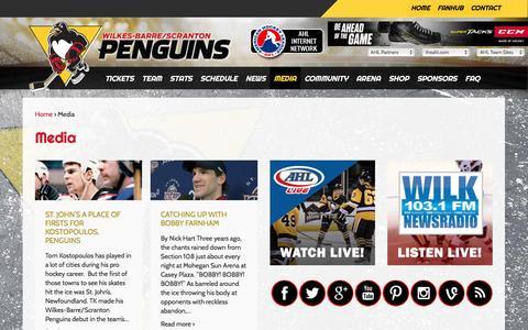 Screenshot of Press Page wbspenguins.com - Media   Wilkes-Barre / Scranton Penguins - captured Dec. 3, 2016