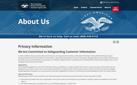 Screenshot of Privacy Page fapcia.com - Privacy Policy - First American Property and Casualty Insurance Agency - captured Oct. 6, 2014