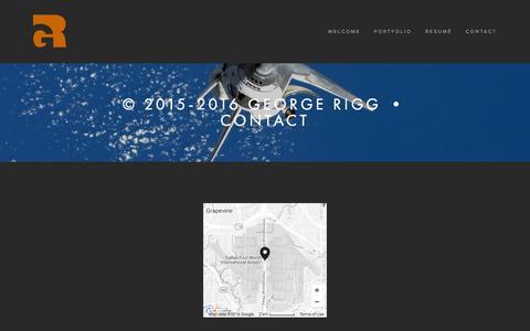 Screenshot of Contact Page georgerigg.com - © 2015-2016 George Rigg   •   Contact — George Rigg Design - captured Jan. 27, 2016