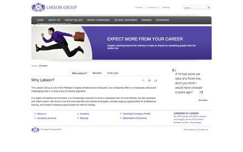 Screenshot of Jobs Page lakson.com.pk - Careers | Lakson Group - captured May 6, 2016