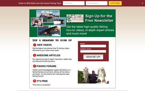 Screenshot of Signup Page bassresource.com - Newsletter Sign Up | The Ultimate Bass Fishing Resource Guide® LLC - captured Sept. 22, 2018