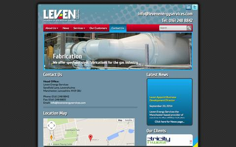 Screenshot of Contact Page levenenergyservices.com - » Contact Us - captured Sept. 30, 2014