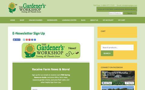 Screenshot of Signup Page thegardenersworkshop.com - E-Newsletter Sign Up - The Gardener's Workshop - captured Oct. 20, 2018
