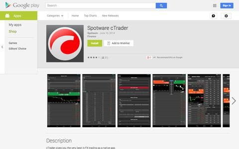 Screenshot of Android App Page google.com - Spotware cTrader - Android Apps on Google Play - captured Oct. 22, 2014