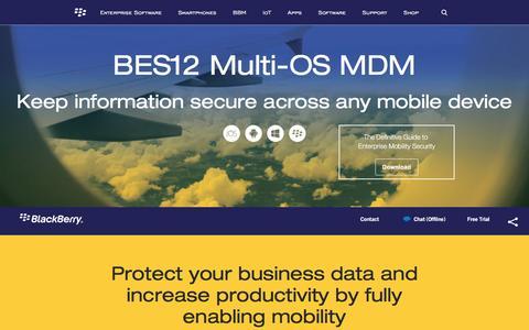Screenshot of blackberry.com - BES12 Multi-OS MDM - United States - captured July 1, 2016