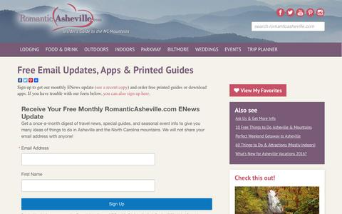 Screenshot of Signup Page romanticasheville.com - Free ENews, Apps & Printed Guides - captured Sept. 12, 2016