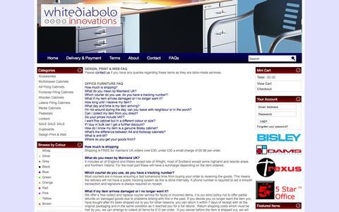 Screenshot of FAQ Page whitediabolo.co.uk - whitediabolo FAQs - captured April 10, 2017