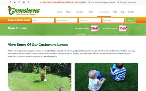 Screenshot of Case Studies Page Testimonials Page greensleeves-uk.com - Lawn Services & Treatment Testimonials | Greensleeves Lawncare - captured Sept. 20, 2017