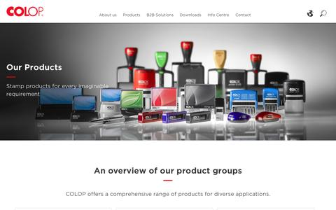 Screenshot of Products Page colop.com - Products - COLOP - captured May 12, 2017