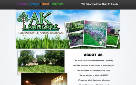 Screenshot of About Page ak-lawncare.com - AK Lawn Care offers Landscaping to Milan MI - captured Nov. 19, 2016