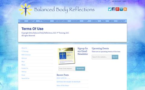 Screenshot of Terms Page balancedbodyreflections.com - Terms Of Use - Balanced Body Reflections - captured Sept. 30, 2014