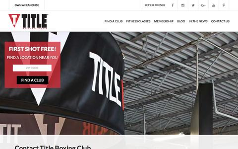 Screenshot of Contact Page titleboxingclub.com - TITLE Boxing Club  |  Contact Us - captured Jan. 5, 2016