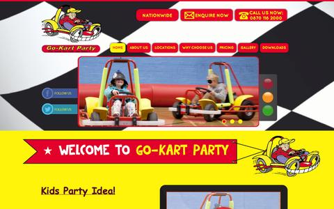 Screenshot of Home Page go-kartparty.co.uk - Kids Party Ideas | Birthday Party Ideas | Official Go-Kart Party - captured Sept. 30, 2014